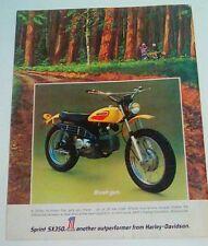 Harley Davidson Sprint SS350 Sprint SX350 1972 VINTAGE magazine print ad