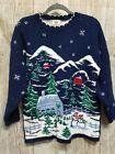 Vintage Nutcracker Christmas Sweater Snowman Snowy Scene Size Small Ugly Xmas
