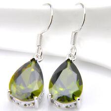 Gorgeous Women Waterdrop Mystical Green Quartz Crystal Silver Drop Earrings Gift