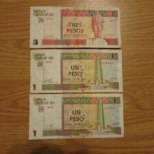 Three Paper Money Peso Bills Caribean 1 is $3 Peso - 2 are $1 Peso