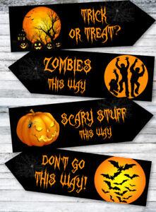 4 Halloween Pumpkin Party Decoration Arrows