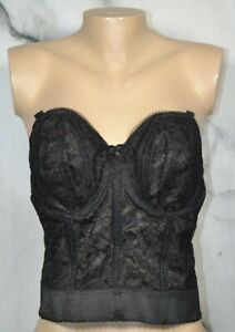 GODDESS Black Lace Bridal Bustier 38C Boned Underwire Sheer Panels and Lace