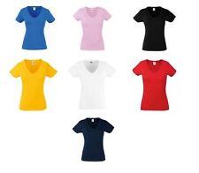 Fruit of the Loom Hip Length V Neck Basic T-Shirts for Women