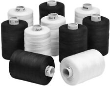 10 Black and White Spools of 3-Ply Polyester Sewing Quilting Serger Threads