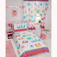 PATCHWORK ELEPHANT SINGLE DUVET COVER SET GIRLS KIDS BEDROOM
