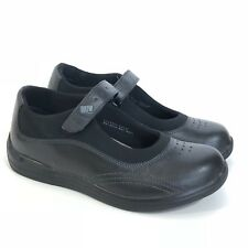 Drew Black Leather Mary Jane Rose Flat Diabetic Walking Shoes Comfort Sz 7.5 M