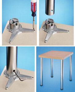 Set of 4 Adjustable Height Table Legs - Metal Aluminium