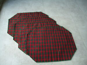 Christmas Set of 4 Red & Greed Small Plaid Placemats W/ Metallic Gold Thread