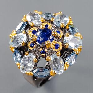 Jewelry Fine Art Unique Blue Topaz Ring Silver 925 Sterling  Size 7 /R162994