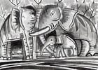 ACEO Original Art Gift Card Elephant Baby Elephant Forest Wildlife Nature Gift