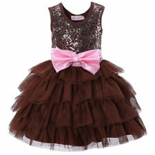 Kids Girls Summer Sleeveless Sequin Party Pageant Gown Tutu Dress Age 2-7 Y