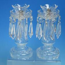 """Waterford Crystal -  Pair 10"""" Candelabra Candle Holders with Prisms and Lamp Cup"""