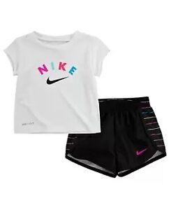 Nike Baby Girls Dri-fit 2-Pc. Logo T-Shirt and Shorts Set