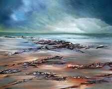 "NEW ORIGINAL ELIZABETH WILLIAMS ""High Tide at Looe"" Cornwall Sea OIL PAINTING"