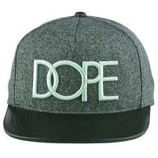 Dope Couture Grey Black Wool Vegan Leather Visor Flat Bill Snapback Cap Hat NEW