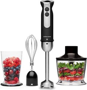 Hand Blender 3 in 1 Set Electric Whisk & Chopper | Bowl & Beaker Andrew James