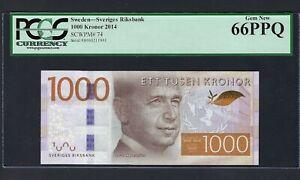 Sweden 1000 Kronor 2014 P74 Uncirculated Graded 66