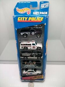 Hot Wheels - City Police 5 Pack Collection - Holden - Dodge - Olds - Model Cars