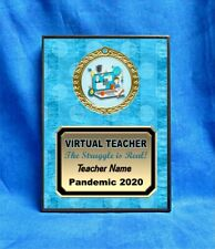 Virtual Teacher Custom Personalized Award Plaque Gift Pandemic Home School BLUE