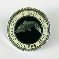 Carnforth & District Anglers Association Enamel Badge Vintage Angling Fishing