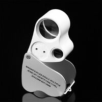 60 Fach Lupe Mikroskop Vergrösserung Juwelier Uhrmacher Glas mit LED Lampe Licht