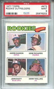 1977 Topps Baseball #473 Andre Dawson Rookie Card RC Graded PSA MINT 9 Cubs