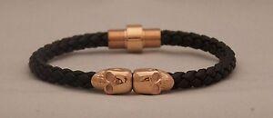 HIGH POINT LA Black Nappa Leather Bracelet with Rose Gold Skulls