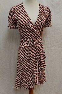 NWT Diane von Furstenberg DVF Emilia 3D Chain Paprika Wrap Ruffle Dress XXS