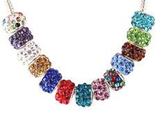 mix 10p silver Clay CZ big hole Beads Fit European Charm Bracelet Jewelry #D536