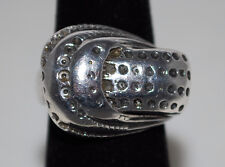 Vintage Heavy Solid Sterling Silver Buckle Design w/ Indented Dots Ring Sz 5 1/4