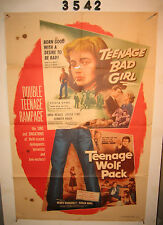 TEENAGE BAD GIRL/TEENAGE WOLF PACK one-sheet original movie poster 1957 cool!