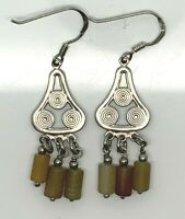 Vintage Sterling Silver 925 Oxidized Beaded Quartz Hook Drop Dangle Earrings