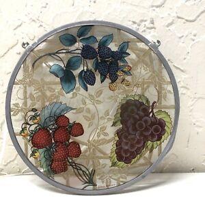 Glassmasters Stain Glass Round Vintage Berry Suncatcher Window See Through Fruit