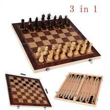 Vintage Wood Chess Set Wooden Board Hand Carved Crafted Pieces Made Folding Game
