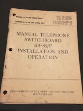 Sb-86/P Switchboard Installation and Operation Tm 11- 2134 September 1955