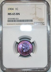 NGC MS-65 BN 1904 Indian Head Cent, Vibrantly toned, Proof-Like Specimen!