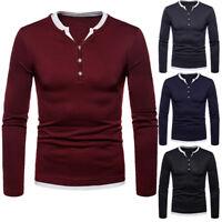 Mens Long Sleeve Henley T-Shirts Casual T-shirt Cotton Plus Velvet Warm Tops Tee