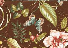 Designer Fabric Brown Yellow Green Rose Butterflies  Cotton Drapery Upholstery