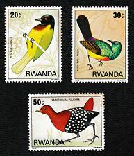 1979 Rwanda 'Weaver/Africa Regal Sunbird/Flufftail' Birds Stamps set of 3 - MNH