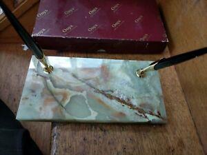 Vintage French Chamonix Desk Set onyx and golden metal W. USA Sheaffer pens