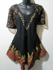 Top Fits XL 1X Plus Tunic Black Brown Batik Lace Sleeves Bell Shaped NWT G786