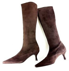 Stuart Weitzman Womens Boots UK 5.5 Brown Suede Leather Stretch Fitted