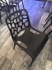 Pack 4 Sillas Apilables Anti UV Cocina Y Bar Diseño Moderno Color Negro