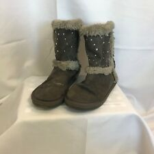 Girls gray boots sz 1 justice fur lined jewels