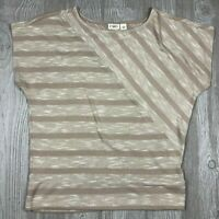 Women's Cato Tan Stripe Short Sleeve Top Size Large