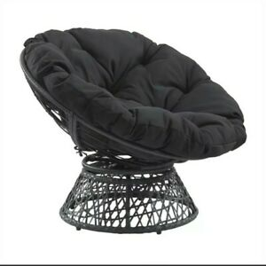 Papasan Chair with Black cushion and Black Resin Wicker Frame