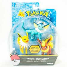 NEW TOMY Pokemon Vaporeon Jolteon Flareon 3 Pack Poseable Figures NIB