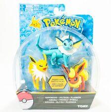 NEW TOMY Pokemon Vaporeon Jolteon Flareon 3 Pack Poseable Figures NIB