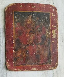 ANTIQUE TSAKLI Card SMALL TIBET THANKA Painting Thangka On Paper Music Buddhas