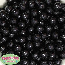 14mm Black Acrylic Solid Bubblegum Beads Lot 20 pc.chunky gumball